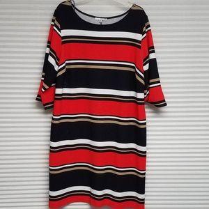 Navy/Coral/White/Tan Striped Dress